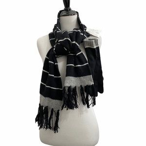 Merona Stripe Black Grey Scarf Gloves Set NWT Soft